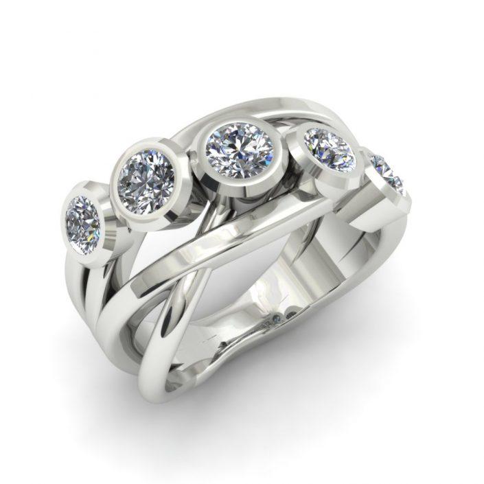 CRISSCROSS 5 STONE DIAMOND CUSTOM FASHION RING