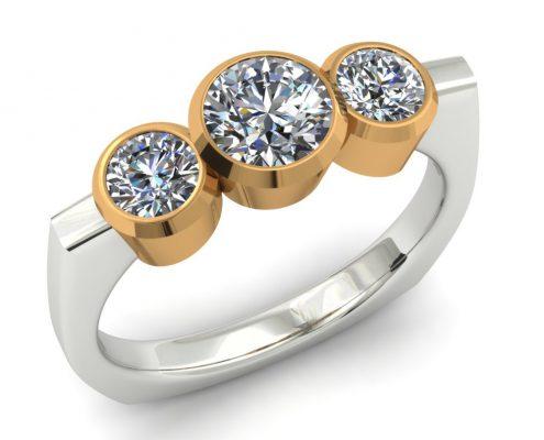 TWO-TONE 3 STONE DIAMOND ENGAGEMENT RING