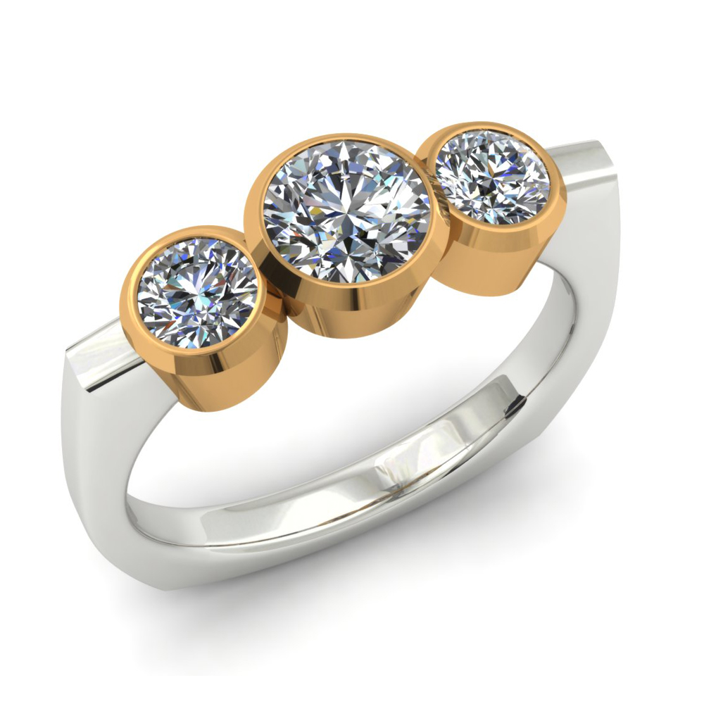TWO-TONE 3 STONE DIAMOND ENGAGEMENT RING