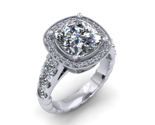 PLATINUM HALO CUSHION CUT DIAMOND ENGAGEMENT RING