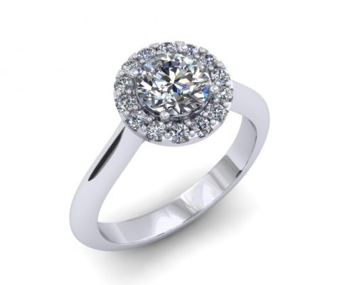 PLATINUM ROUND HALO CUSTOM DIAMOND ENGAGEMENT RING