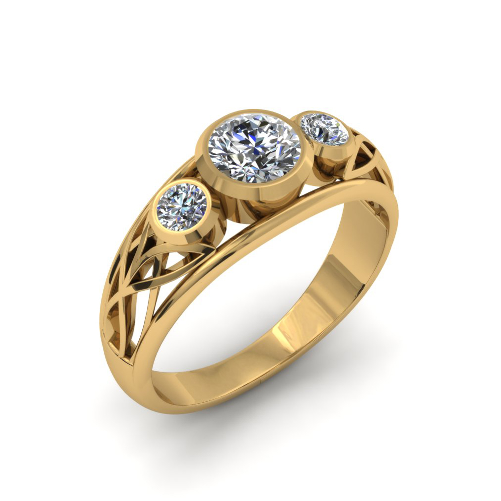 THREE STONE FILIGREE DIAMOND ENGAGEMENT RING