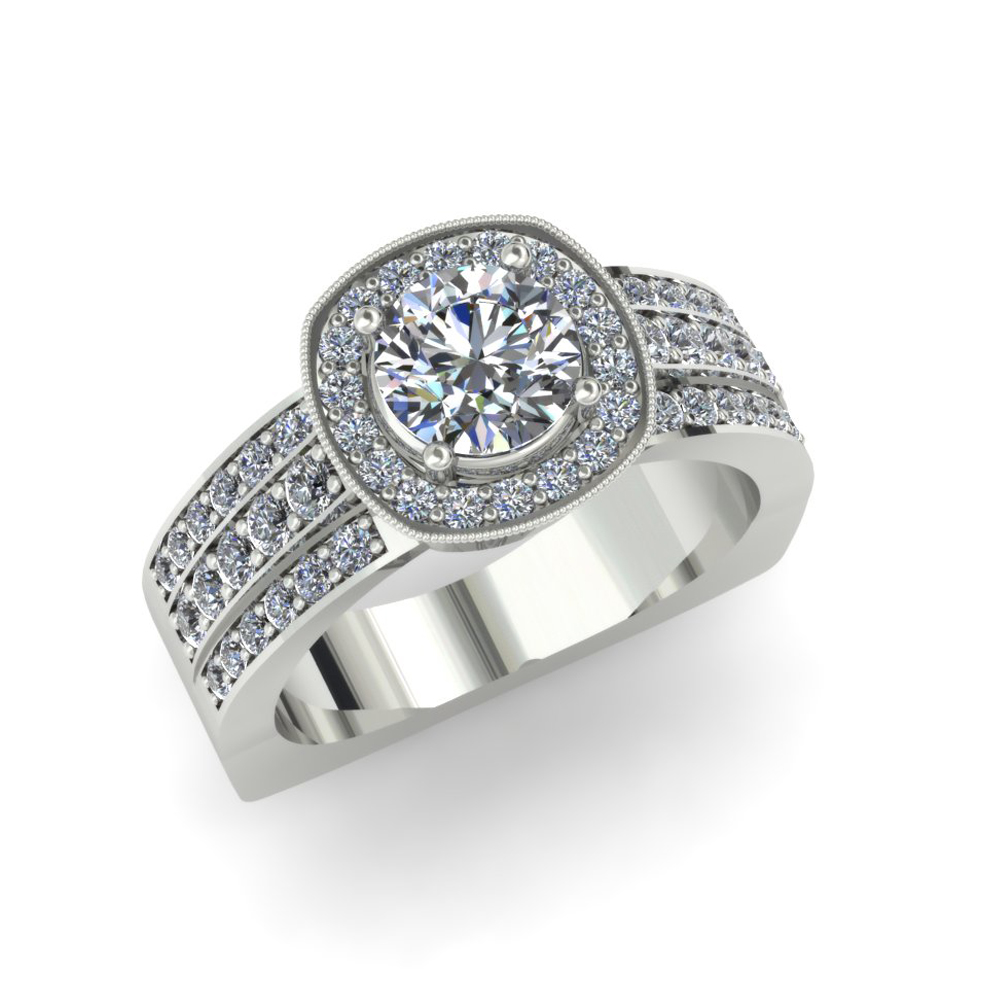 CUSHION HALO WIDE DIAMOND ENGAGEMENT RING