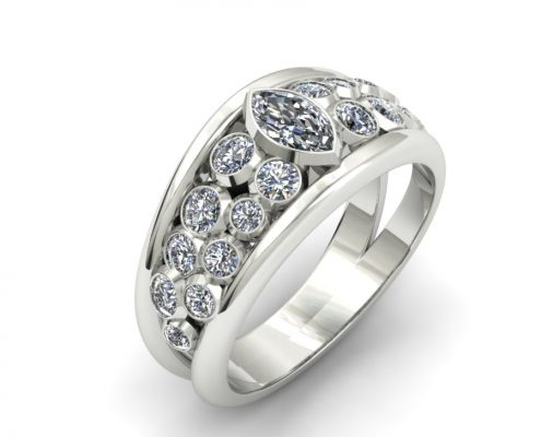 WIDE BEZEL SET DIAMOND FASHION RING