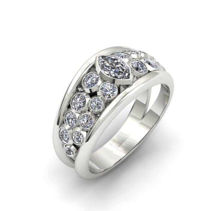 WIDE BEZEL SET DIAMOND FASHION RING