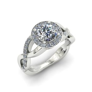 TWISTING DIAMOND HALO ENGAGEMENT RING