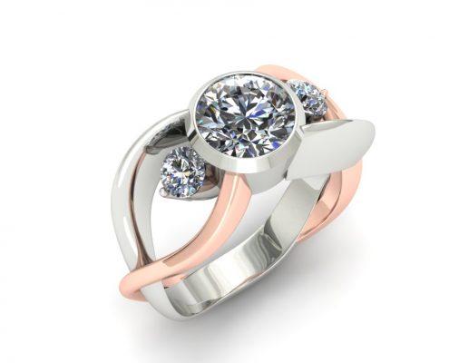 THREE STONE TWISTING DIAMOND ENGAGEMENT RING