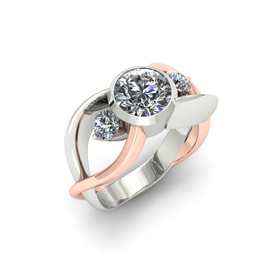 THREE STONE TWISTING DIAMOND ENGAGEMENT RING