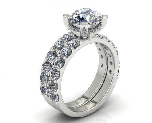 SHARED PRONG DIAMOND BRIDAL SET