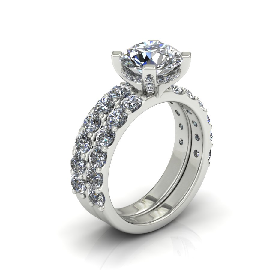 SHARED PRONG DIAMOND BRIDAL SET