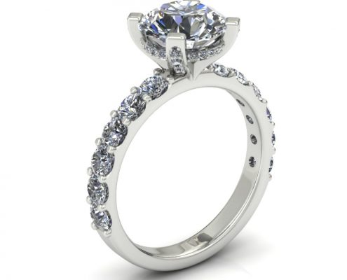 SHARED PRONG DIAMOND ENGAGEMENT RING