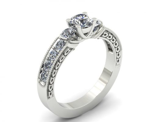 THREE STONE DIAMOND ACCENT ENGAGEMENT RING