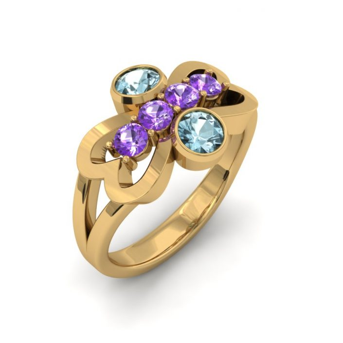 AMETHYST AND AQUAMARINE MOTHER'S RING