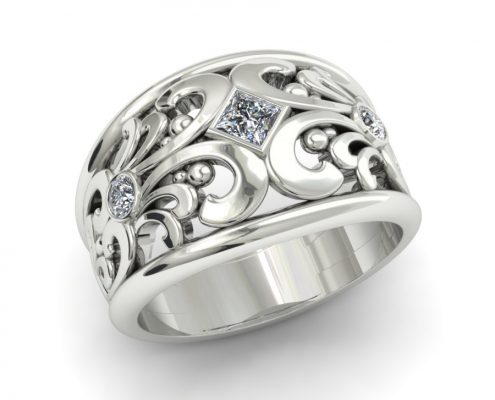 SCROLLWORK PRINCESS CUT DIAMOND FASHION RING
