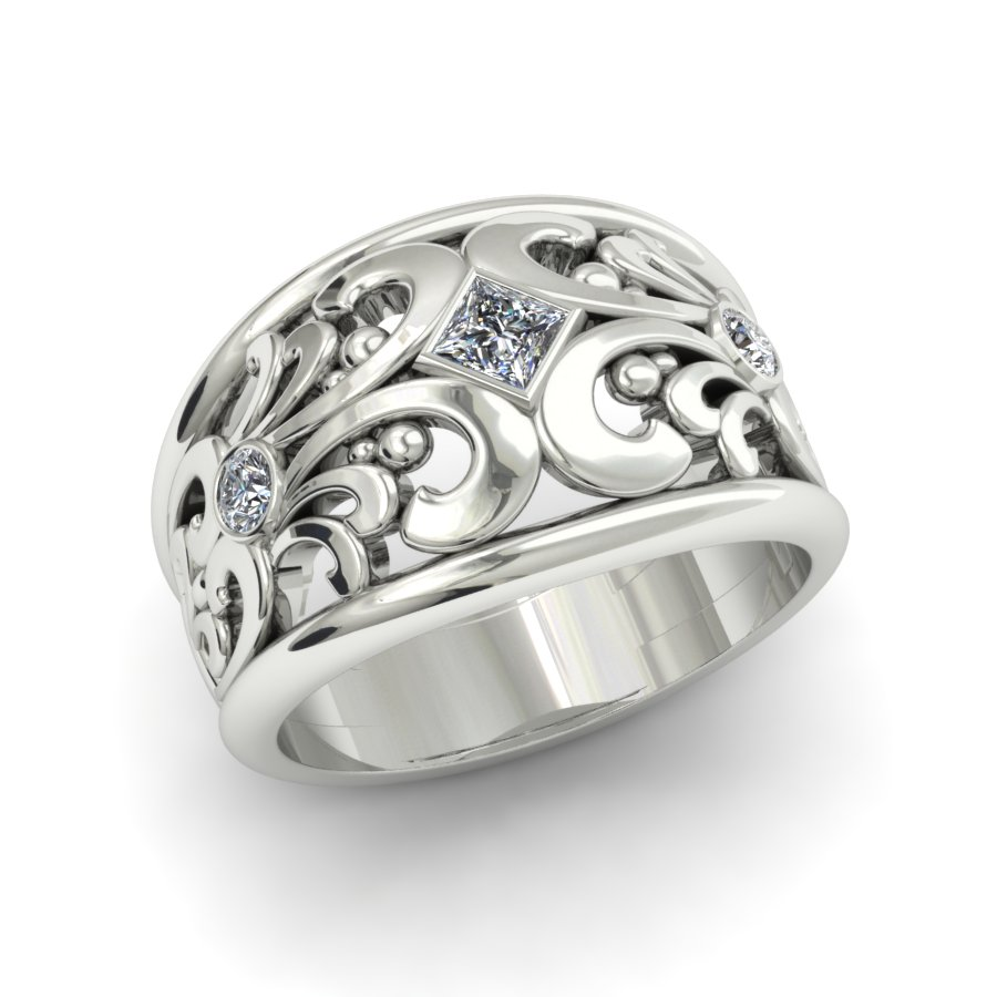 SCROLLWORK PRINCESS CUT DIAMOND FASHION RING