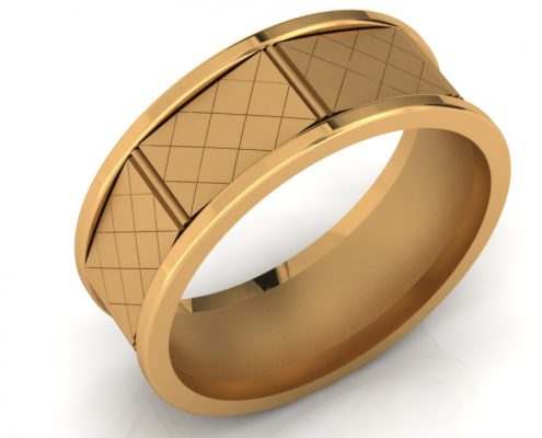 GENTS DIAMOND PATTERN WEDDING BAND