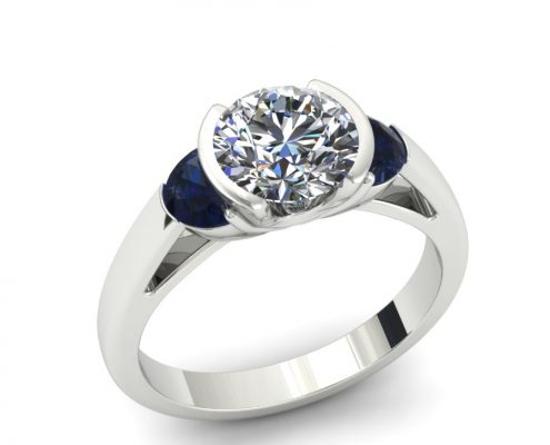 MODERN PARTIAL BEZEL SAPPHIRE ACCENT ENGAGEMENT RING