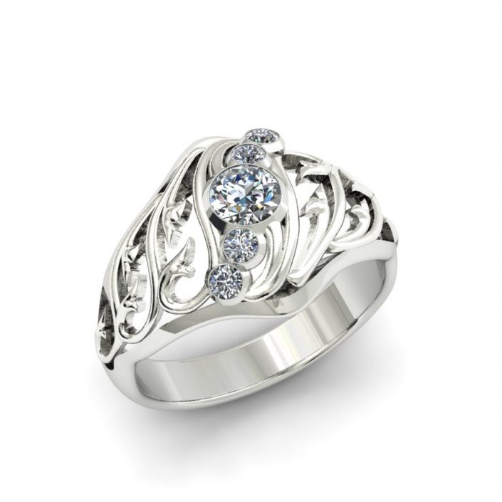 5 STONE FILIGREE DIAMOND FASHION RING