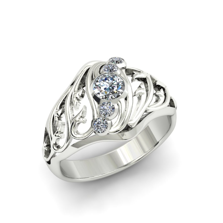 5 STONE FILIGREE DIAMOND FASHION RING