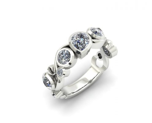 VARIOUS SHAPED DIAMOND BEZEL CUSTOM FASHION RING