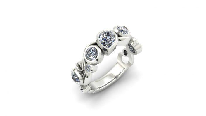 VARIOUS SHAPED DIAMOND BEZEL CUSTOM FASHION RING