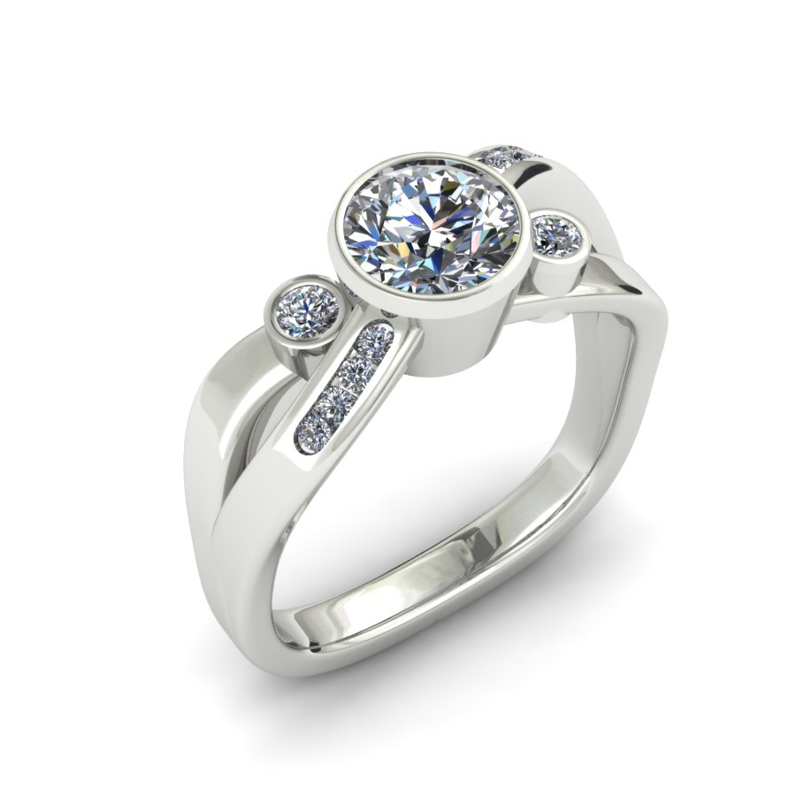 MODERN CROSSOVER DIAMOND ENGAGEMENT RING