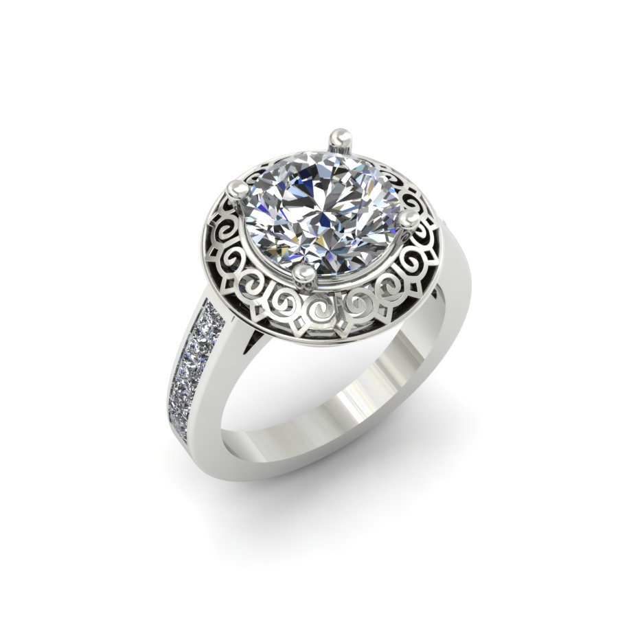 SCROLL HALO DIAMOND ENGAGEMENT RING