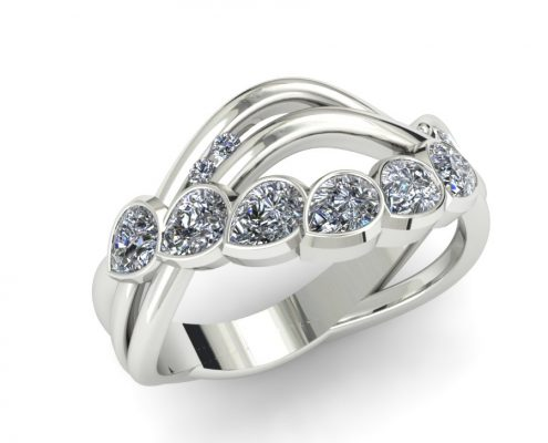 PEAR SHAPED MODERN DIAMOND WAVE FASHION RING