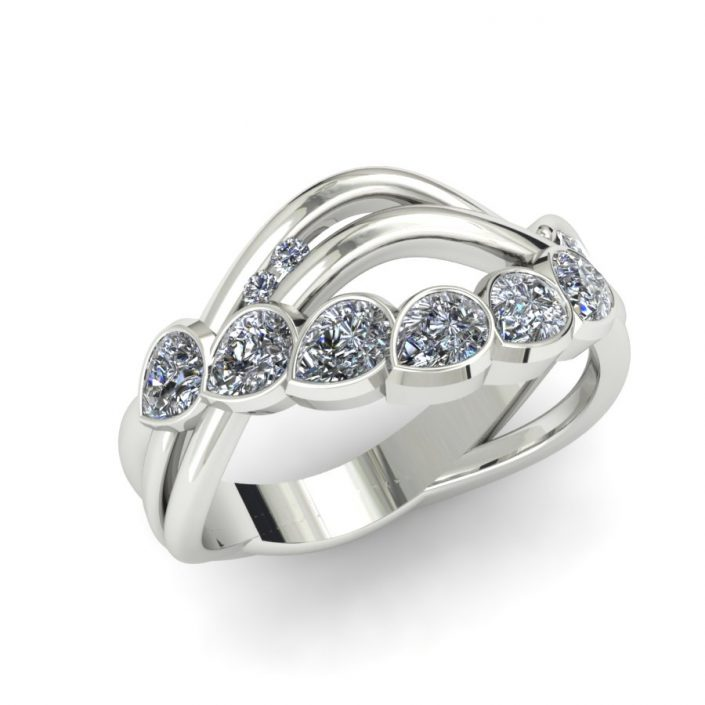 PEAR SHAPED MODERN DIAMOND WAVE FASHION RING
