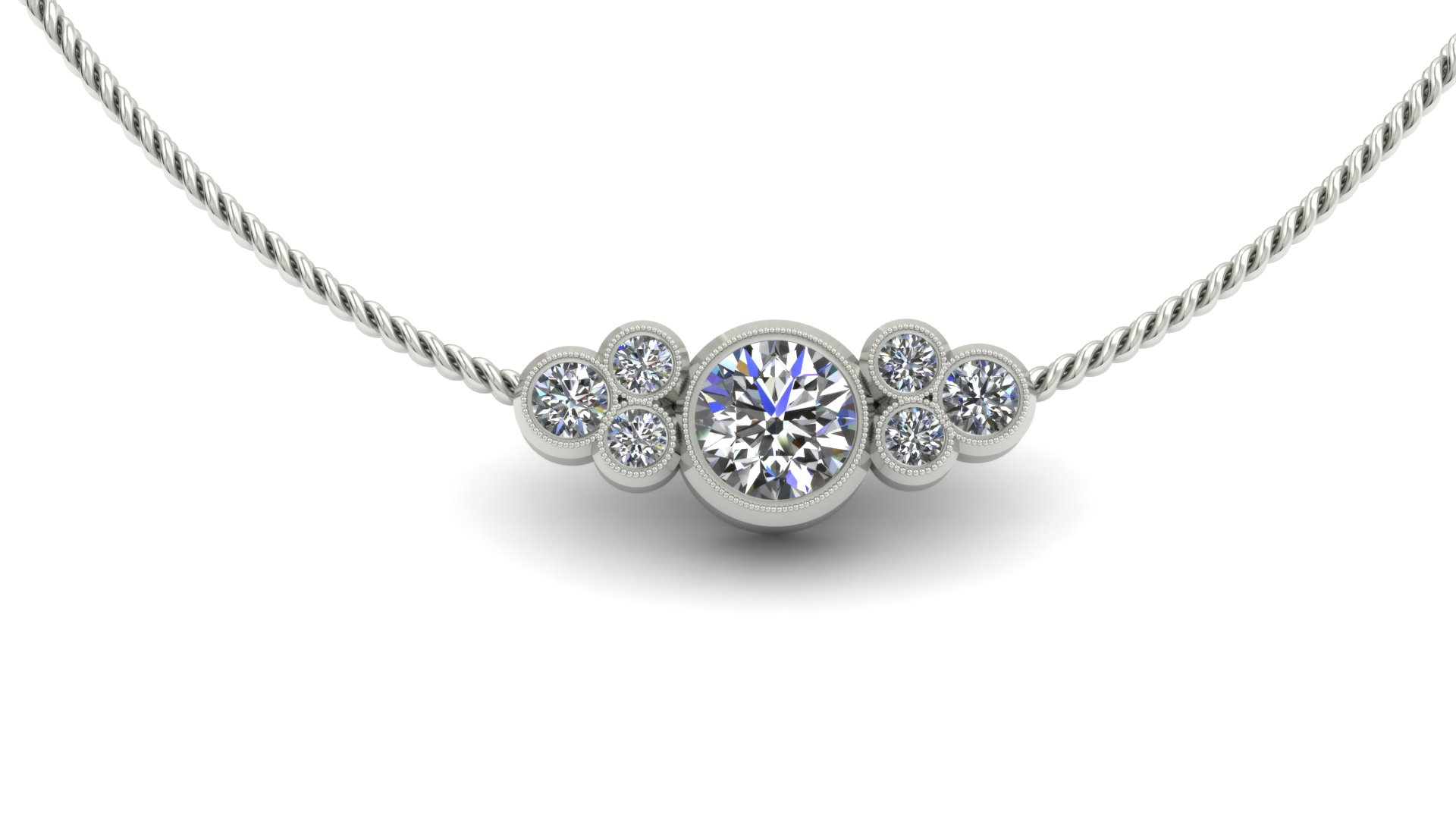 BEZEL BRILLIANT ROUND CUSTOM DIAMOND NECKLACE