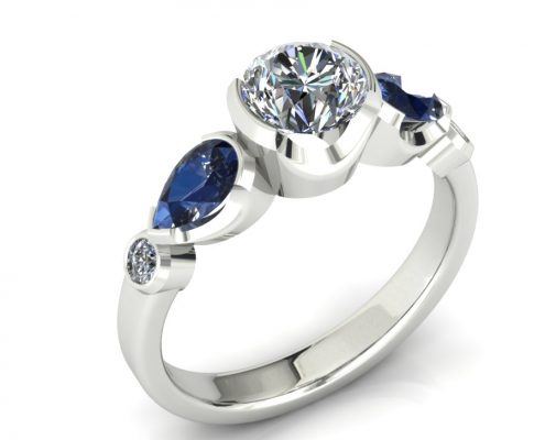 SAPPHIRE ACCENT BEZEL DIAMOND ENGAGEMENT RING