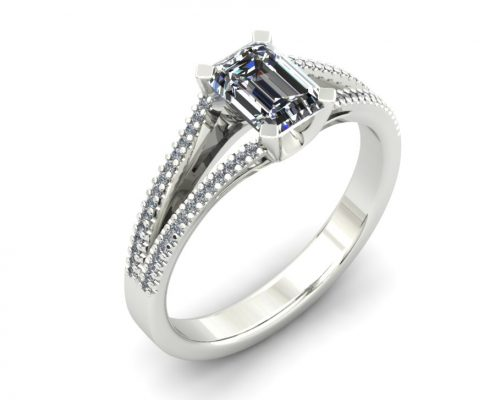 EMERALD CUT SPLIT SHANK ENGAGEMENT RING