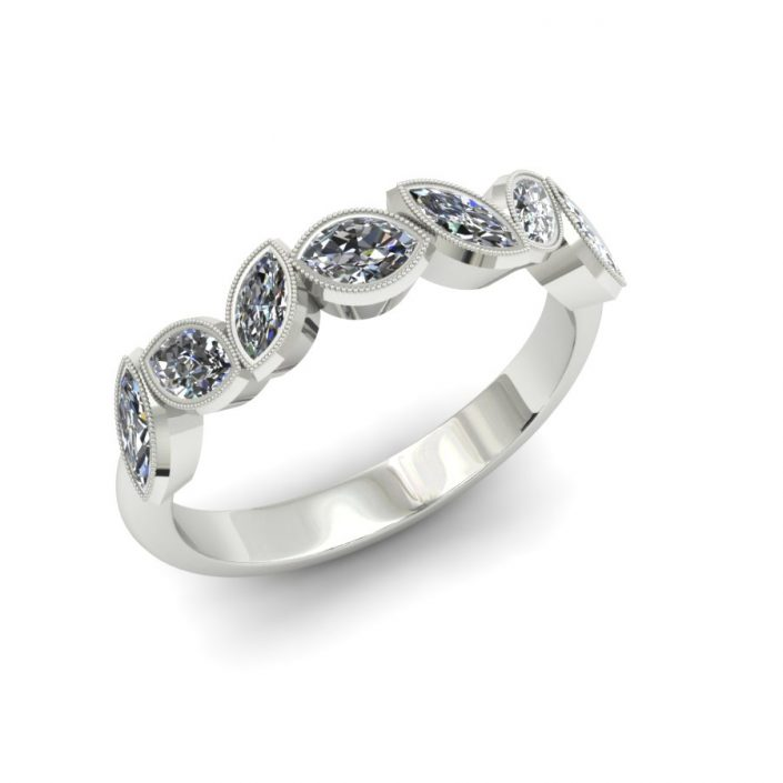 MARQUIS BEZEL SET DIAMOND WEDDING BAND