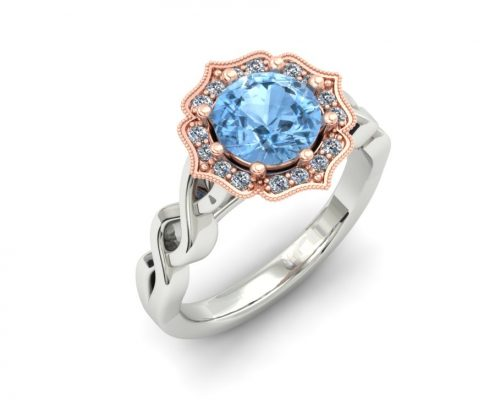 AQUAMARINE ROSE GOLD HALO ENGAGEMENT RING