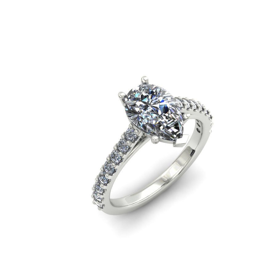 PEAR SHAPE SHARED PRONG DIAMOND ENGAGEMENT RING