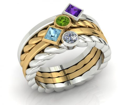 TWO TONE CUSTOM STACKABLE MOTHERS BIRTHSTONE RING