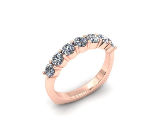 ROSE GOLD SHARED PRONG DIAMOND WEDDING BAND