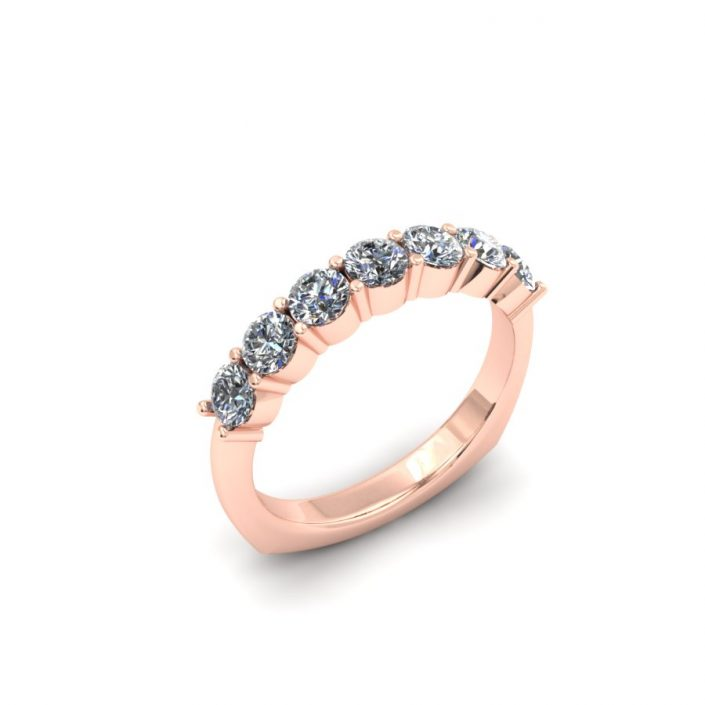 ROSE GOLD SHARED PRONG DIAMOND WEDDING BAND