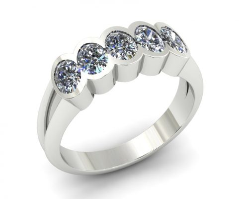 5 STONE PARTIAL BEZEL DIAMOND ENGAGEMENT RING