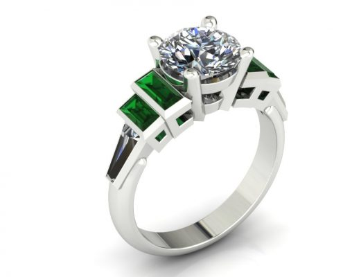 EMERALD ACCENT CUSTOM ENGAGEMENT RING