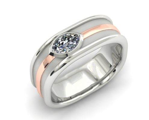WHITE GOLD WITH ROSE ACCENT MARQUIS DIAMOND GENTS RING