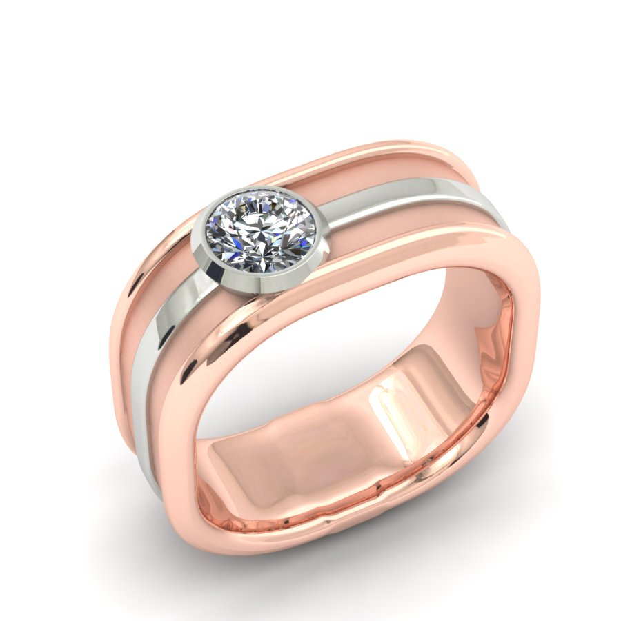 ROSE GOLD WITH WHITE GOLD ACCENT BRILLIANT ROUND DIAMOND GENT'S BAND