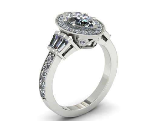 VINTAGE INSPIRED MARQUIS HALO ENGAGEMENT RING