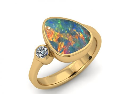 BEZEL SET AUSTRALIAN OPAL RING