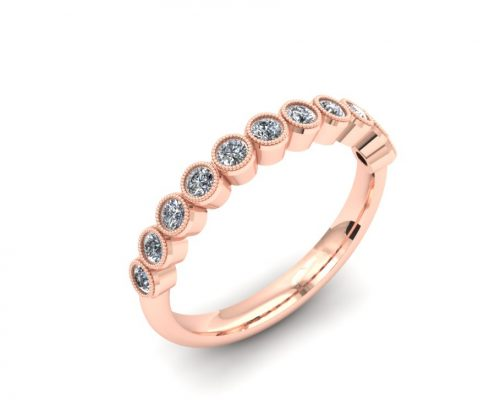 ROSE GOLD MILGRAIN BEZEL DIAMOND WEDDING BAND