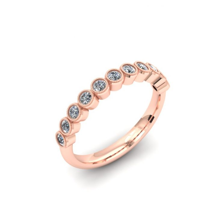ROSE GOLD MILGRAIN BEZEL DIAMOND WEDDING BAND