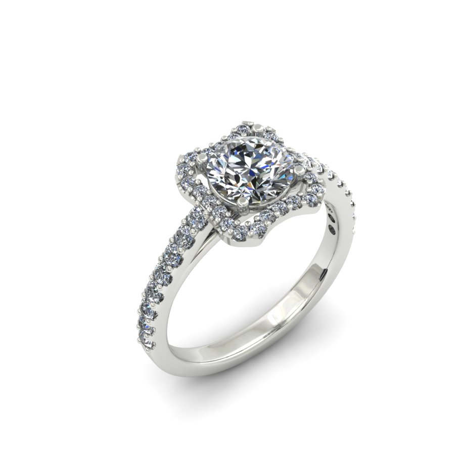 UNIQUE HALO DIAMOND ENGAGEMENT RING