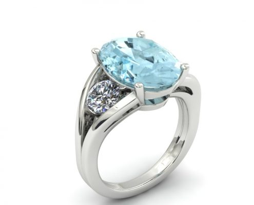 MODERN OVAL AQUAMARINE FASHION RING