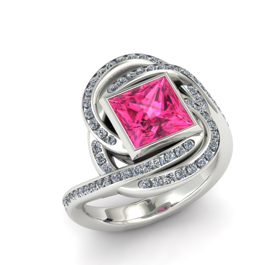 TWISTING PINK SAPPHIRE AND DIAMOND ACCENT ENGAGEMENT RING
