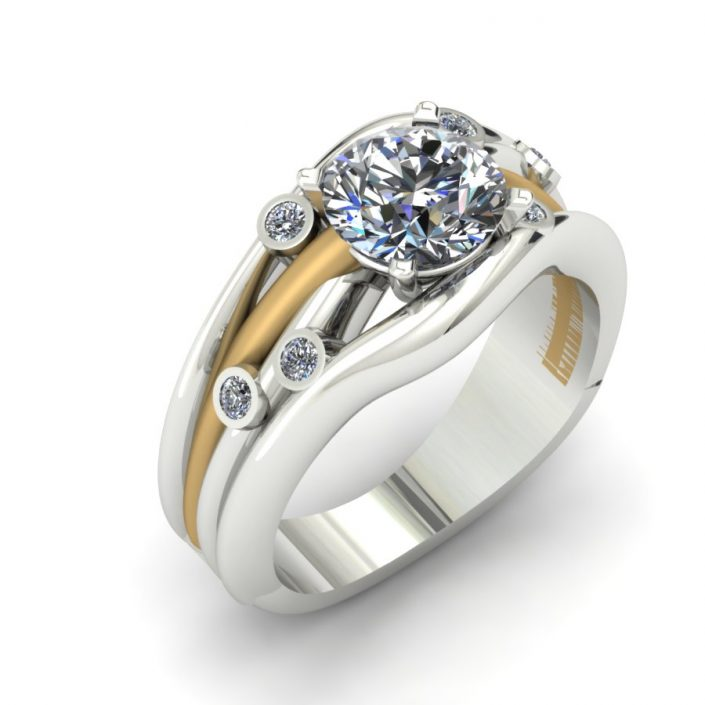 TWO TONE DIAMOND WAVE CUSTOM FASHION RING